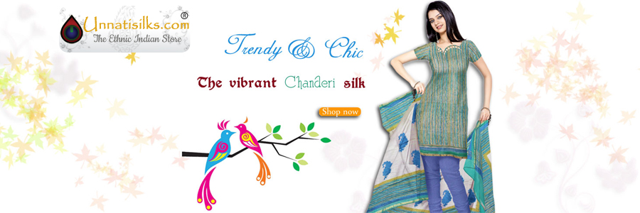 Chanderi silk salwar kameez desired by Indian women for their smoothness, light weight texture and intricate patterns.